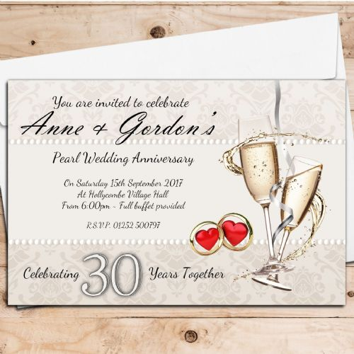 10 Personalised 30th Pearl Wedding Anniversary Invitations N16